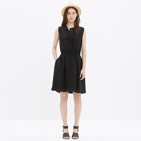6af7a0f665 Madewell Dresses   Skirts - Madewell Black Silk Journey Shirtdress ...